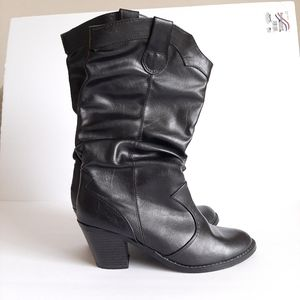 SODA black faux leather stacked heel boots